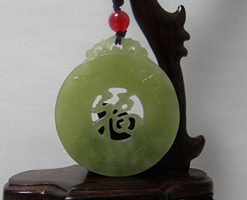 JL 5,3 cm Chine Certifié Nature Hetian Jade néphrite bénédiction Double Creux Carvd Collier Pendentifs