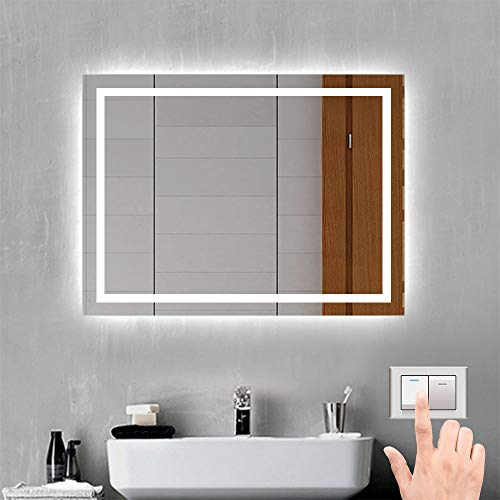 Xinyang LED Badspiegel Badezimmerspiegel 50x70 mit Beleuchtung Lichtspiegel Wandspiegel durch Wand-Schalter beschlagfrei IP44 energiesparend Kaltweiß