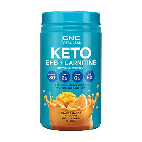 GNC Total Lean Keto BHB + Carnitine - Orange Mango, 30 Servings, 2 Grams of Carbs, Promotes Fatty Acid Metabolism