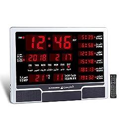 ROYAL WIND Azan Clock for USA Azan Prayer Clock, Islamic Table Adhaan Reminder Azan Silver