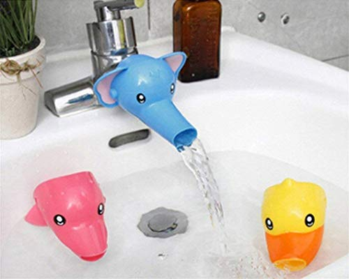 Nigoz - Extensor de grifo de plástico con diseño de dibujos animados, para lavar a mano, para bebés y niños, diseño de elefante azul, rentable y duradero, práctico y rentable