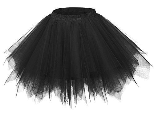 FEOYA Falda Tutu de Ballet para Mujer Skirt Corta Elegante con Capas Cintura Elástica Disfraz Fiesta Negro 38CM