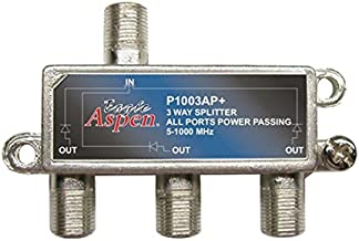 3-Way Splitter 1 GHz 1000 MHz All Port Power Passing UHF/VHF Cable TV Signal 3 Port Output Video Splitter