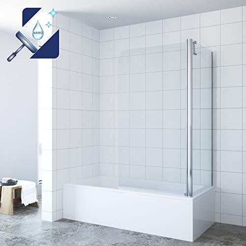 AQUABATOS 80x70x140cm Eck-Duschtrennwand Duschwand für Badewanne mit Seitenwand, Duschtrennwand Breite 80cm, Seitenwand Breite 70cm, Höhe 140cm, 5mm ESG Sicherheitsglas mit Nanobeschichtung