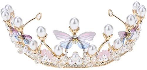 KEEBON Crystal Crown Deedband, Girl Chica Faux Perla Rhinestones Tocado para Fiesta de Boda, Novia Dama de Honor Pulseras Pendientes Anillos Collares