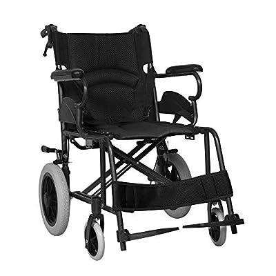 "Lightweight Folding Wheelchair with Armrest Footrest, Aluminium Attendant Propelled Transport Wheelchair with Handbrakes, 16"" Seat Portable Transit Travel Wheelchair"