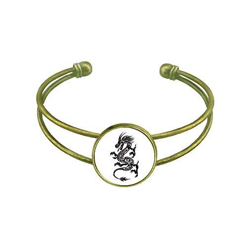 DIYthinker Drache Tier Kunst Grain Silhouette Armband Armreif Retro Open Cuff Schmuck