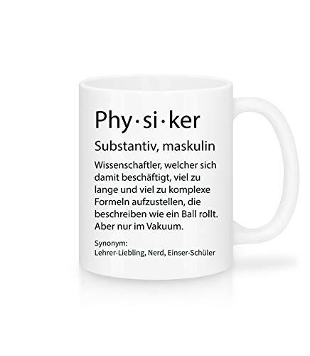 Shirtinator Beruf Definition Physiker Geschenk Tasse mit Spruch, Arbeit Kollegen Gag Job witzig Teetasse