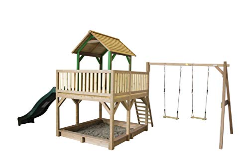 AXI Atka Speeltoren met Dubbele Schommel Bruin/groen - Groene Glijbaan