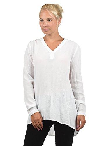 BlendShe Creole Damen Tunika Bluse Langarm Mit V-Ausschnitt, Größe:XL, Farbe:Snow White (20006)