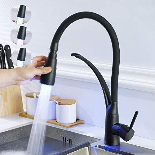 We1lessz Küchenarmatur Schwarz Integral LED RGB Light Küchenspüle Mixer Wasserhahn High Arc Wasserhahn Hope Küchenarmatur