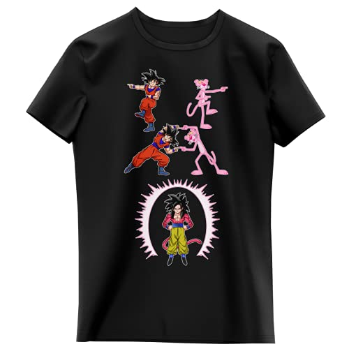 T-shirt Enfant Fille Noir parodie Dragon Ball GT Panthère Rose - Sangoku 4 et la Panthère Rose - L'être le plus puissant de l'Univers !! (Fusion !!) (T-shirt enfant de qualité premium de taille 10 an