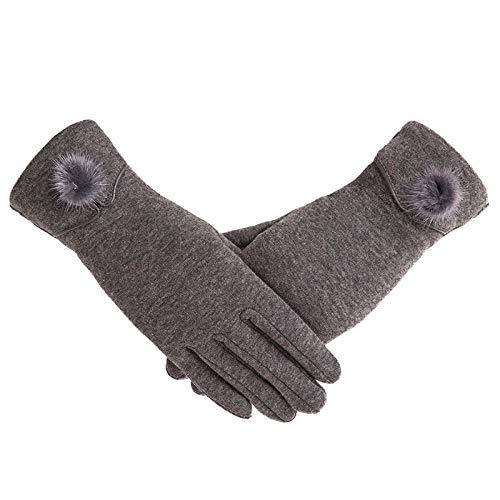 Weibliche Herbst Winter Nicht umgedrehte Samt Vollfinger warme Spitze Hairball Handschuhe Frauen Baumwolle Touchscreen Handschuhe-4