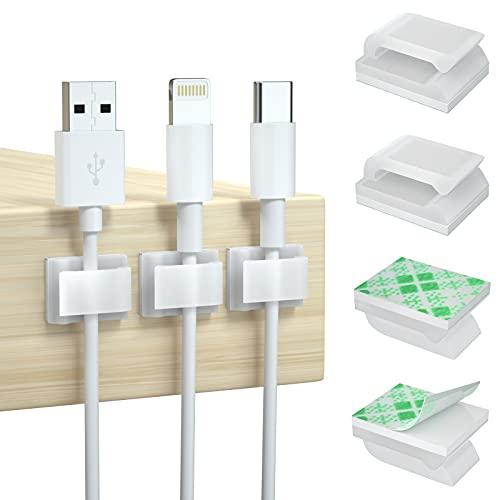 100 Piezas Clips de Cable Adhesivos Clips de Alambre Adhesivo Gestión de Cables con Cintas Adhesivas para Luces de Hadas, Tiras de Leds, Cables de Carga, Gestión de Cables y Decoración de Alambre