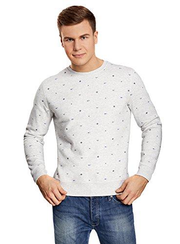oodji Ultra Herren Bedrucktes Sweatshirt mit Rundem Ausschnitt, Grau, DE 56 / XL