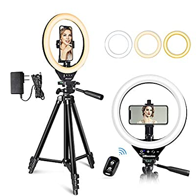 UBeesize 10 Inch LED Ring Light with Stand and Phone Holder, Selfie Halo Light for Photography/Makeup/Vlogging/Live Streaming, Compatible with Phones and Cameras from UBeesize