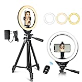 UBeesize 10'' LED Ring Light with Stand and Phone Holder, Selfie Halo Light