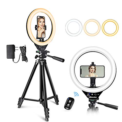 10'' LED Ring Light with Stand and Phone Holder, UBeesize Selfie Halo Light for Photography/Makeup/Vlogging/Live Streaming, Compatible with Phones and Cameras (2020 Version)