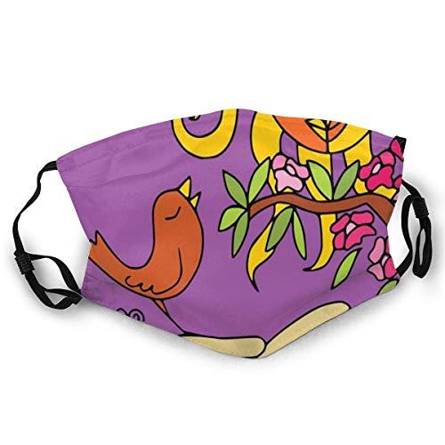 Reutilizable y lavable, diseño abstracto de sol con una joven dama y un pájaro tuiteando en primavera, para ciclismo, camping, viajes, talla única.