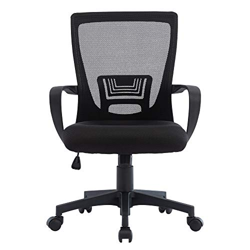 STmeng Liberty T8 Ergonomic Mesh Office Chair, Adjustable Height Computer Gaming Chair with Swivel Back Support and 3D Armrest, Breathable Padded Seat Executive Home Work Task Desk Chairs, Black