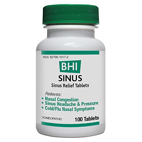 BHI Sinus Congestion Natural, Safe Homeopathic Relief - 100 Tablets