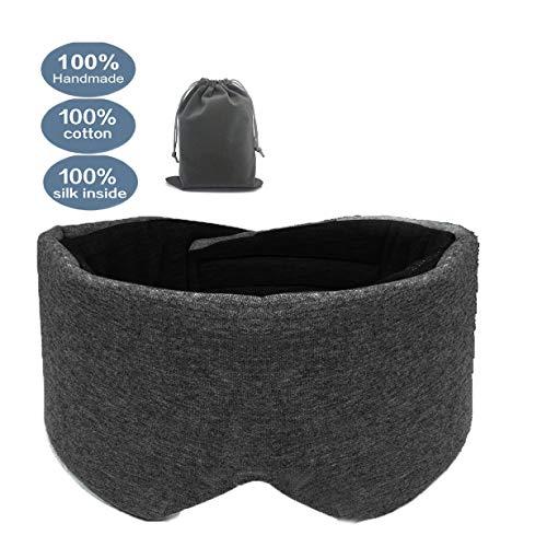 leeken 100% Handmade Cotton Sleep Mask, Eye Mask for Sleeping Adjustable Blinder Blindfold Airplane with Travel Pouch,Sleep mask for Women (Black) …