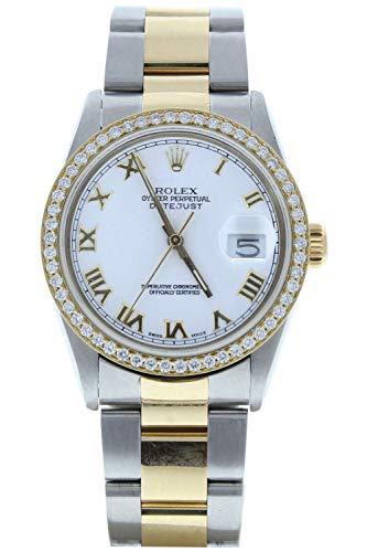 Rolex 36mm Datejust 16233 Steel & 18k Yellow Gold Watch White Roman Dial & Custom Diamond Bezel (Certified Preowned)