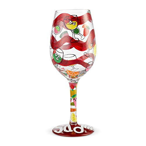 Enesco Designs by Lolita Sangria Too Hand-Painted Artisan Wine Glass, 15 Ounce, Multicolor