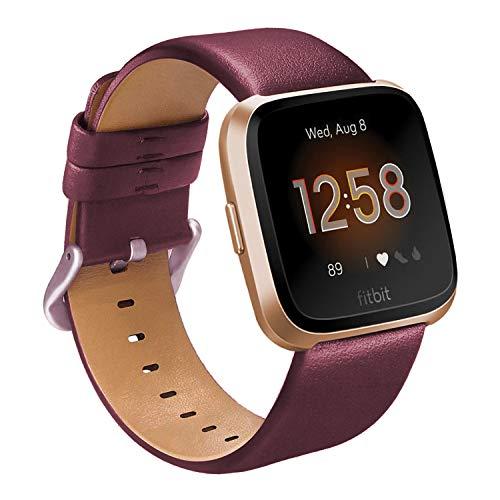 ALADRS Correas de reloj inteligentes de piel auténtica compatibles con Fitbit Versa/Fitbit Versa 2/Fitbit Versa Lite Edition para hombres y mujeres, repuesto para relojes Versa, rojo vino