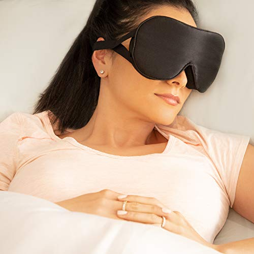 100% Authentic Silk Eye Sleep Mask Adjustable Soft Sleeping Blindfold for Women and Men by HJP (Deluxe)