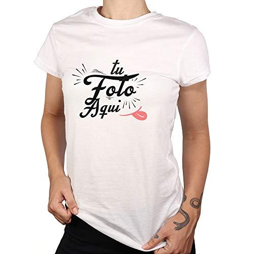 PROMO SHOP Camiseta Personalizada Mujer (Foto o Logo) Blanca · Manga Corta Talla XL · 100% Algodón · Impresión Directa (DTG) · Estas Camisetas Personalizas Se Imprimen Directamente sobre el Tejido