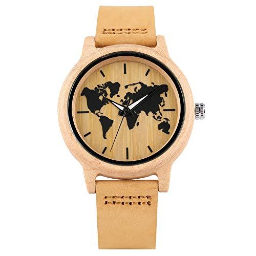 Reloj de pulsera para mujer con función luminosa de madera, correa de cuero marrón...
