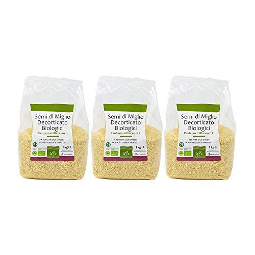 Graines de Millet décortiquées biologiques - Multipack 1 kg x 3 - Conditionné sous atmosphère protectrice