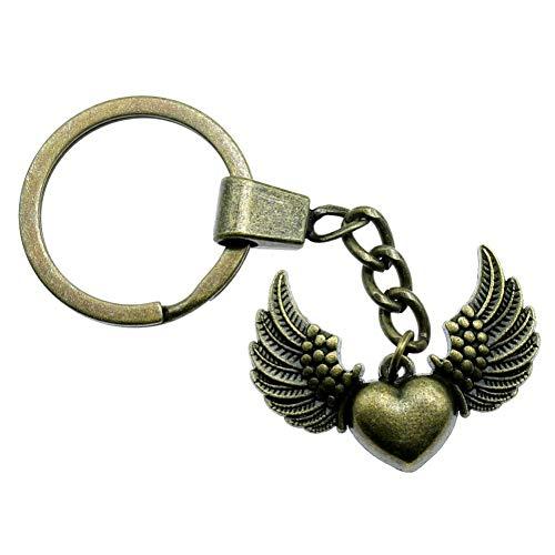 Taoziaa sleutelhanger, 36 x 27 mm, hart met vleugels, bronskleurig, antiek-look, voor mannen, sieraden, sleutelhangers, sleutelhangers, als herinnering