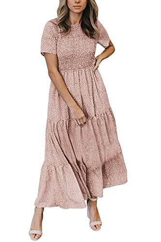 Zattcas Maxi Dresses for Women Casual Beach Smocked Long Floral Summer Maxi Dress Mauve L