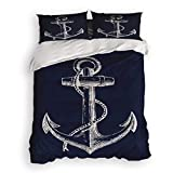 Prime Leader 4 Pcs Bedding Set-Nautical Anchor Navy Blue Duvet Cover Set Ultra Soft and Easy Care Sheet Quilt Sets with Decorative Pillow Covers for Children Kids Adults-Full