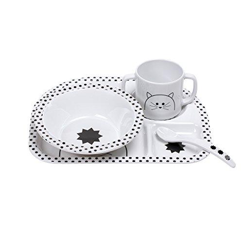 LÄSSIG Kindergeschirr Set mit Schüssel Tasse Löffel Teller rutschfest Melamin/Dish Set Little Chums Cat, weiß
