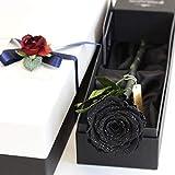 Makefuture Diamond Rose 2020 プリザーブドフラワー 花 誕生日 一輪 バラ プロポーズ ダイヤモンドローズ アモローサ (レザーブラック)