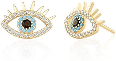 18K Gold Evil Eye Stud Earrings Dainty Micro inlaid Cubic Zirconia Earring for Women Handmade product image