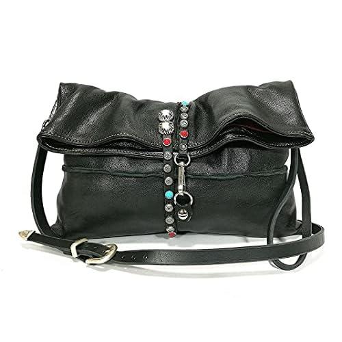 Borsa Donna a tracolla in pelle nera Cross body moda Donna abbigliamento accessori