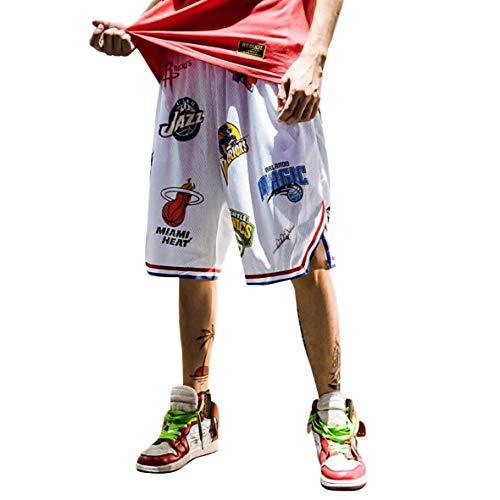 DEBAIJIA Herren Basketballshorts aus Atmungsaktives Mesh Stoff, Sommer Straßenmode Shorts für Jugendliche und Jungen, Lose Sport Joggen Shorts Drucken Kurze Hose,Weiß-XL