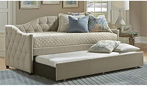 Atlin Designs Upholstered Daybed With Trundle In Beige