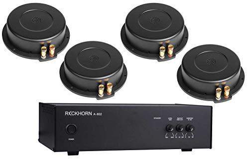 A-802 Mono Verstärker für Subwoofer und Bass Shaker + 4 x BS-200i Körperschallwandler von Reckhorn