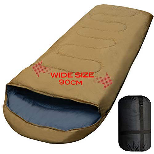 【archi】ワイドサイズ 寝袋 シュラフ 封筒型 抗菌仕様 車中泊 防災 最低使用温度 -15℃ (コヨーテ)
