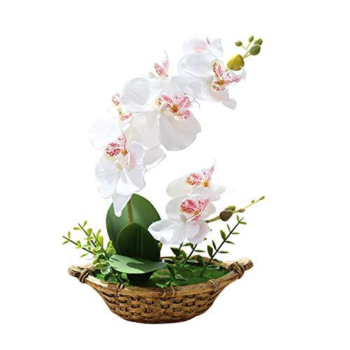 Flikool Doble Tallo Orquídeas Artificiales con Maceta Bonsai de Phalaenopsis Flores Artificial Plantas Artificiales de Flor Mariposa para Hogar Balcón Partido Oficina Decoración - Blanco