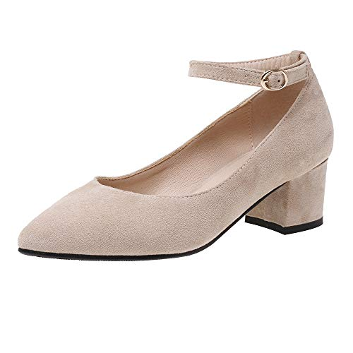 BeiaMina Damen Mode Spitze Zehe Pumps Blockabsatzs Fesselriemen Kleid Pumps Comfy Party Schuhe Beige Gr 34 Asiatisch