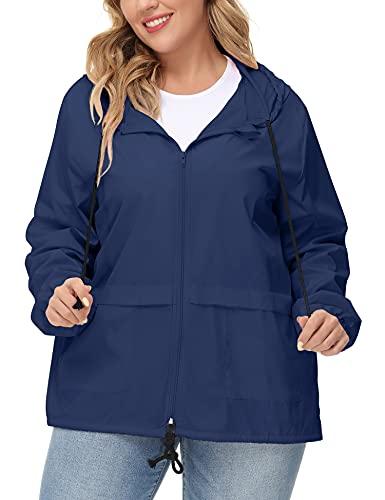 Plus Light Rain Jackets Women Waterproof Windproof Raincoat Packable Windbreaker Hooded Sports Jacket Navy Blue 2XL