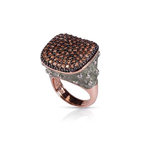 Azhar damesring zitzak zilver nagellak groen steen bruin
