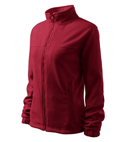 Damen Fleece Jacket Hochwertige Fleecejacke Anti-Pilling (L, Rot)