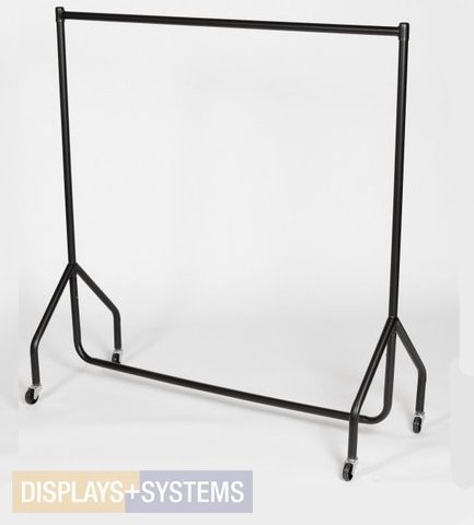 Stabiler Kleiderständer auf Rollen Kleiderstange Garderobenständer Rollständer, Breite 122cm, schwarz